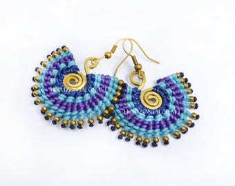S-Coil Circle Style Earring/Corlorful wax cord tied earring/ blue-purple-blue-dark blue tone