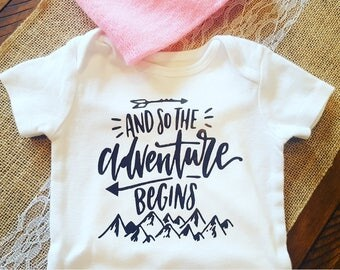 Adventure begins onsie, boho onsie, boho toddler shirt, coming home outfit, adventure outfit, camping baby shirt, adventure begins shirt