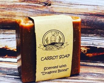 Carrot Soap - Dragons Blood Scent - Vegan - Natural Skincare