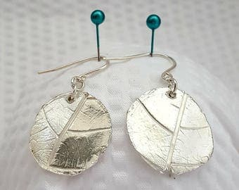 Fine Silver Leaf Texture Earrings