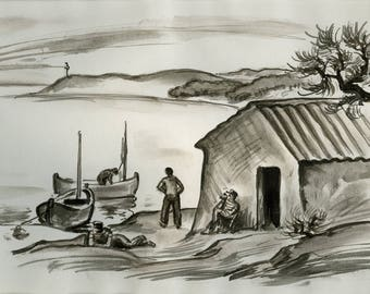 The shed of fishermen, framed, drawing, reproduction, paul Jacob Hians