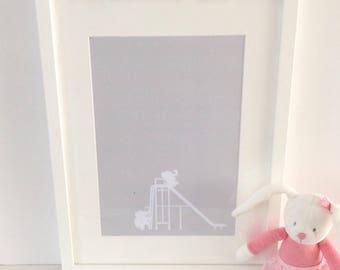 Baby Room Elephant Nursery Print - baby room print  - nursery decor - nursery prints - Christening Gift- baby room print