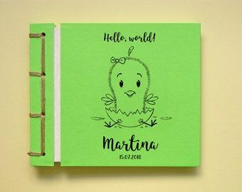 Personalized Baby Girl Photo Album, Handmade Baby Shower Scrapbook, Baby Birthday, Cute Cartoon Drawing, Hatching Chick
