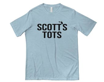 Scott's Tots T-shirt Design | Office | Vintage Feel | Funny Graphic Tees | Next Level 6200 Poly/Cotton T-Shirt | Stonewashed Denim