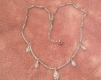 Vintage Nolan Miller Silver Plated - Pave Swarovski Crystal Teardrop Necklace
