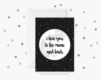 Anniversary Card | Valentines Card | I Love You to the Moon and Back | Nursery Decor | Card For Girlfriend | Card For Boyfriend | GCLACA604
