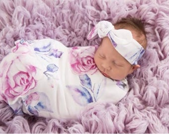 Lilac Snuggle Swaddle sack with headband