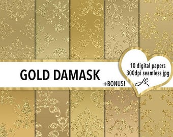SALE Gold Damask Digital Papers + BONUS Photoshop Pattern File, Seamless, Textures, Backgrounds, Clipart, Personal & Commercial Use