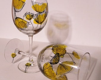 Hand painted abstract dandelion wine glasses