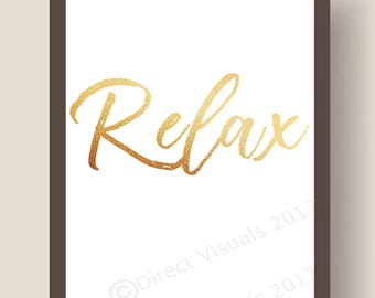 Relax Gold Shimmer Feel Good Wall Art Print