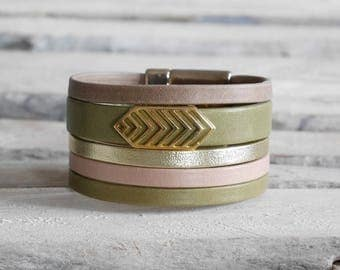 CLEARANCE Bracelet khaki leather cuff, gold, powder pink and taupe with passing Boho gold (BR115)