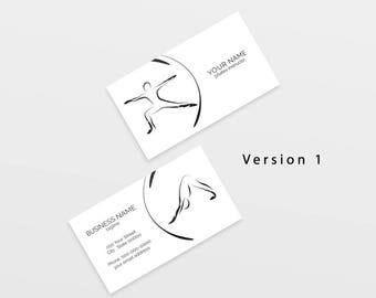 Yoga business card with two abstract poses | Yoga logo | Yoga instructor | Yoga studio
