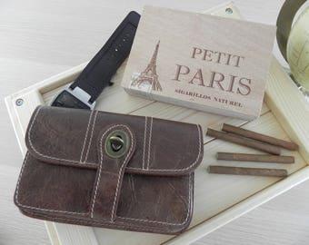 Men real leather Belt Pouch - Waist bag - Hip Bag distressed medium/cognac  #MollyandMolini everyday use, good size, perfect gift