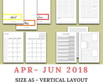 2018 Q2 - APRIL to JUNE dated - vertical appointment layout- A5 / US half letter size traveler's notebook insert - WO2P / week on 2 pages