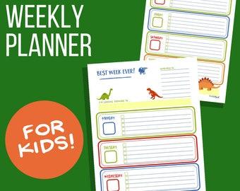 Weekly Planner for Kids: Dinosaur Theme, Printable weekly calendar for children