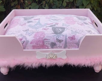 Pink French Feather Princess Dog Bed
