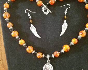 Wing necklace & earrings