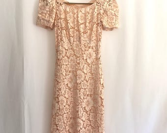 Vintage Petal Pink Lace Dress Maxi XS