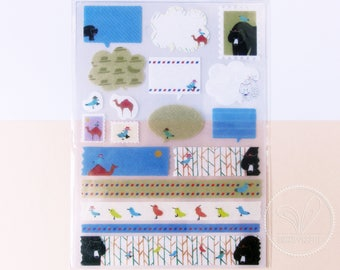 Cute Animals Washi Sticker (Blue Bird, Bear, Camel) - Label, Masking Tape Sticker - Planner, Journal, Gift Wrapping, Decoration