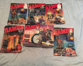 Best Offer***Vintage 1985 Combo Deal!! Vintage Lot of  Rambo  action figures with SAVAGE Strike Cycle!!  Sealed!!  Please read description!