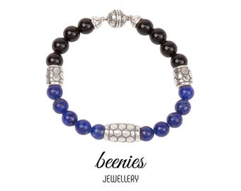 Beenies 'Classic' Men 8mm Lapis with Onxy Beads Bracelet