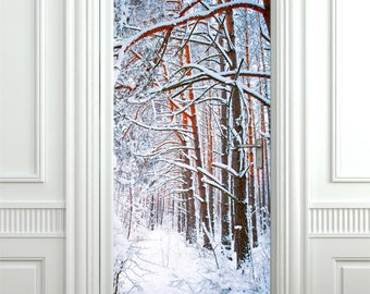 Snow Wall Decal, Winter Wall Sticker for Door Decor, Trees in Winter Wall Decal, Forest Wall Decor Door Cover Wallpaper Mural Home Decor