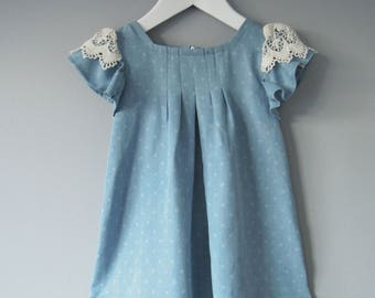 vintage inspired toddler pleat and flare dress denim chambray blue lace