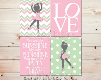 Pink green nursery art Ballerina decor Print at home You are my sunshine Girl art Nursery printable Sunshine wall art Instant download #1003