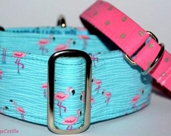 Flamencos - Martingale collar for galgos, greyhound, dogs, adjustable, 100% cotton. El Galgo Cotilla