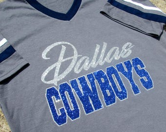 Dallas Cowboys Glitzy Bling Jersey Style Grey V-Neck shirt with Sparkling Silver and Dark blue Glitter - White & Blue Sleeve Stripes