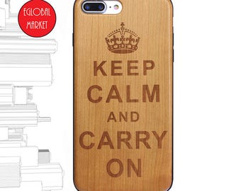 Wood Cherry TPU Phone Case iPhone 5 iPhone 6 iPhone 7 Case: Keep Calm And Carry On