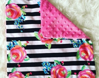 Baby Minky Blankie Stripes and Roses
