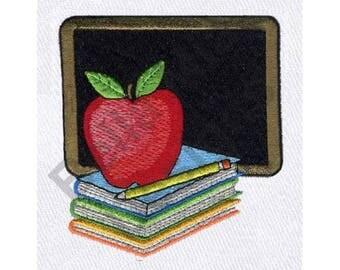 Apple And  Books - Machine Embroidery Design