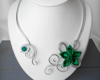 Wire aluminum Silver Flower necklace Green