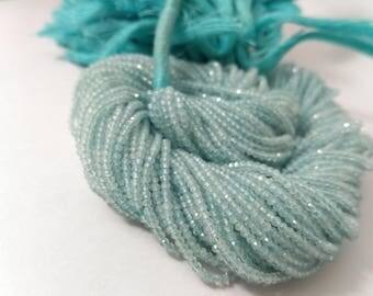 AAA 100% Natural Micro Aquamarine Faceted Rondelle Strands Beads 2-2.5mm | Blue Aquamarine Faceted Rondelle Beads | Micro Beads Strands