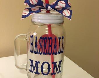 Baseball Mom Mason Jar Mug