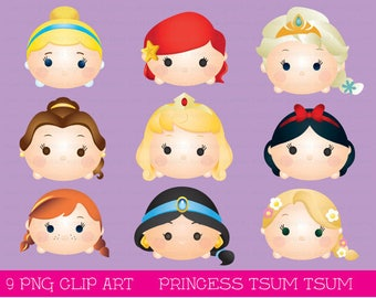 Princess Tsum tsum clipart, tsum tsum graphics, disney tsum tsum, intstant download, party, princess, printable, elsa, rapunzel, snow white