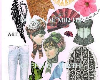 QUEEN OF MIRTH  Never Say Never!  art dolls Victorian paper dolls mixed media collage sheet art journal scrapbooking zetti clip art