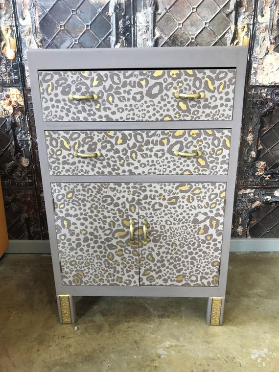 "Vintage up cycled solid wood cabinet - Farrow & Ball ""Ocelot"" design"