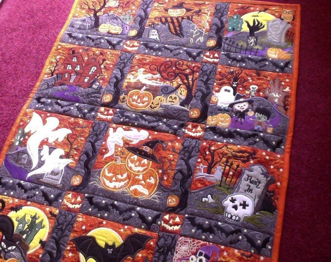 Embroidered Halloween Door Hanger, Halloween Wall Decor, Halloween Reversible Table Runner, Wall or Door Decor, 24X30 Halloween Mini Quilt