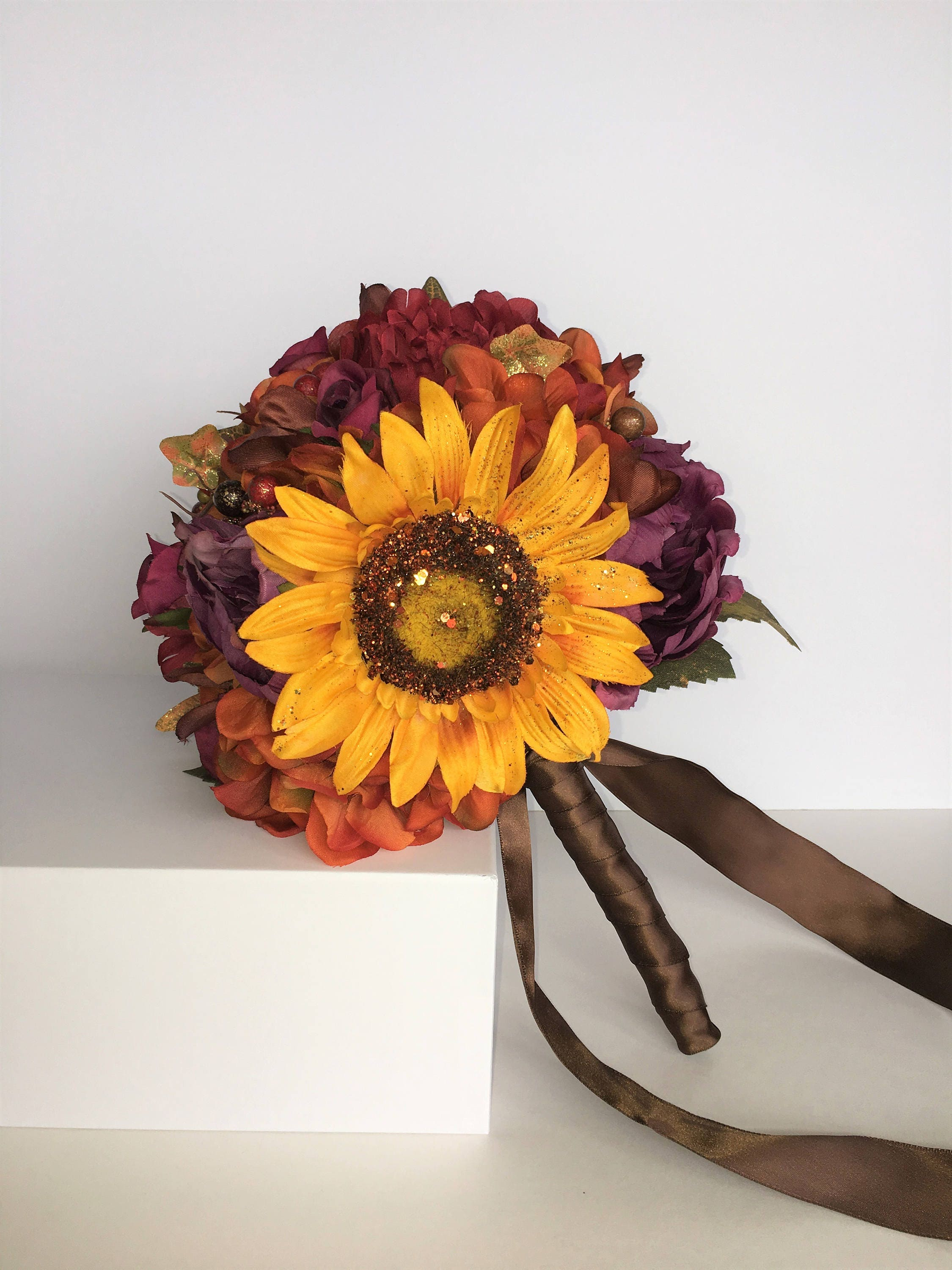 Sale sunflower fall wedding bouquet made with silk for Fall wedding bouquets for sale