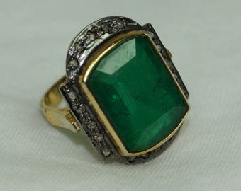 Victorian style 1.40ctw rose cut diamonds Emerald sterling silver Statement Wedding Ring - 2651706