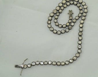 Vintage Look Antique Finish 17. 60cts Rose cut Uncut Polki Diamond Oxidized Sterling Silver single row Choker Necklace