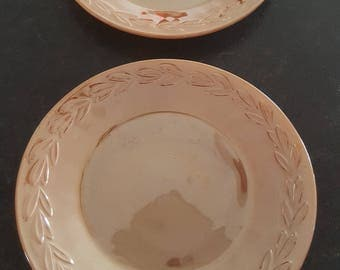 Vintage/Retro Peach/Orange Fire King Lustre Plates Circa 1950s/Kitchen/Eat/Dinner/Household/Serving/Dining/Set/Meal/Glassware/Dishware