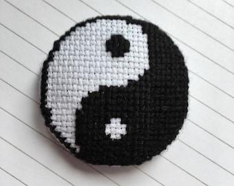 Yin & Yang cross stitch badge - small gift - handmade