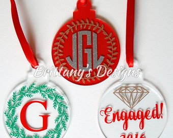 Acrylic Christmas Ball Ornament - Personalized Ornament - Christmas Ornament - Monogrammed Christmas Ball - Custom Ornament - Personalized