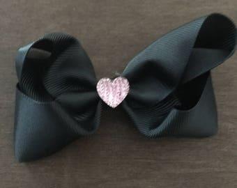 Pink Rhinestone Heart & Black Hairbow