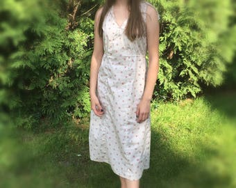 Ladies dress size M medium calico modest cotton print sleeveless long tan floral sun dress tea length