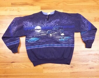 Vintage 90s 1994 Duck Double Sided Sweatshirt Shirt Wildlife Nature Forest Moon
