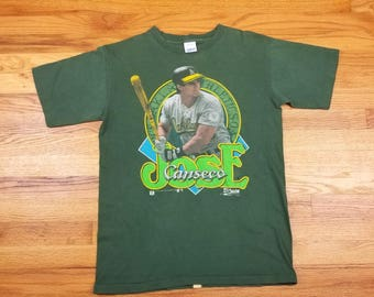 Vintage Rare 90s 1990 Jose Canseco Oakland Athletics T shirt Size Large